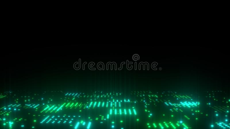 3d abstract art background render, circles and dots on the black, retrowave and synthwave illustration. Futuristic technical concept stock illustration