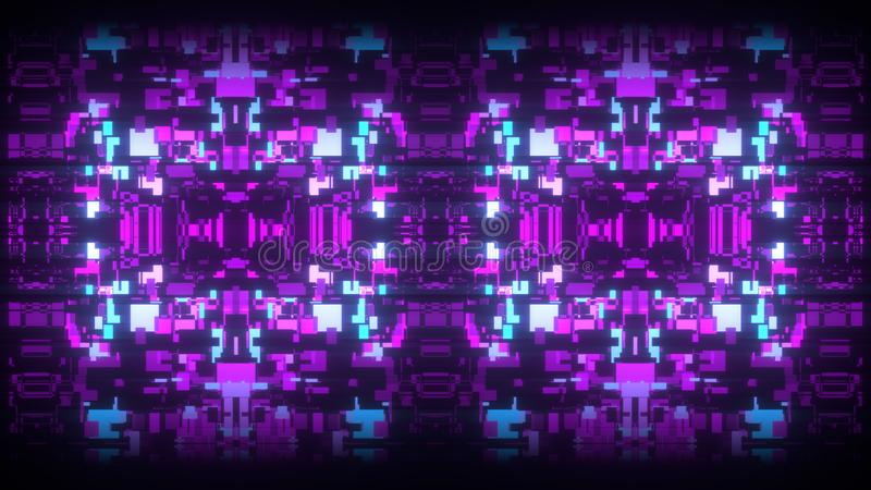 3d abstract art background render, colorful squares on the black, retrowave and synthwave illustration. Futuristic glitch concept vector illustration
