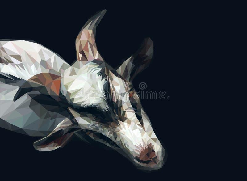 Vector polygonal goat illustration. 3d abstract artistic animal background vector illustration