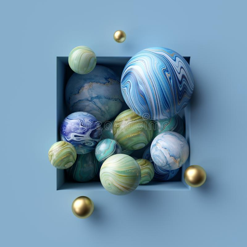 3d abstract background, assorted marble balls inside square niche vector illustration