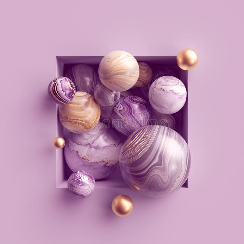 3d abstract background, assorted pink gold marble balls inside square niche stock illustration