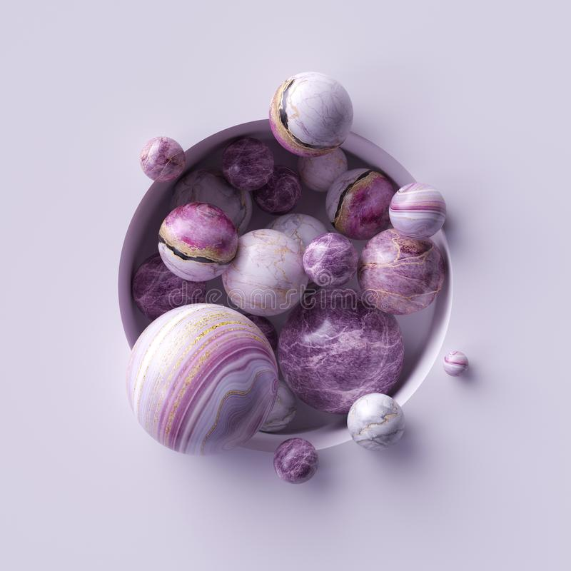 3d abstract background, assorted pink marble balls inside round white niche stock illustration