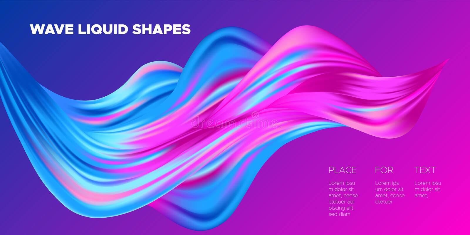 3d Abstract Liquid Colorful Shapes. royalty free illustration