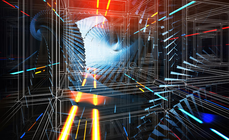 3d abstract background illustration with dark blue helix tunnels stock illustration