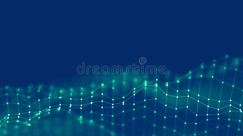 3d Abstract Background Network concept . Future background Technology illustration. 3d landscape. Big data. Wireframe royalty free stock images
