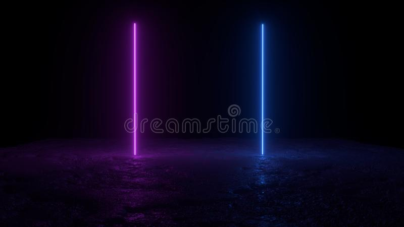 3d abstract background render, two pink amd blue neon lights on the ground, retrowave and synthwave illustration. Futuritic concept royalty free illustration