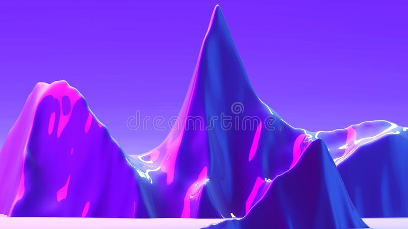 3d abstract background with space for text. Futuristic planet in purple, ink and blue colors. Bright trendy gradients. Mix of matt and glossy textures. Scene stock image