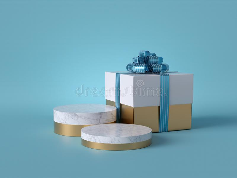 3d abstract background with wrapped Christmas gift. White square box with blue bow. Round marble podium, blank pedestal steps stock illustration