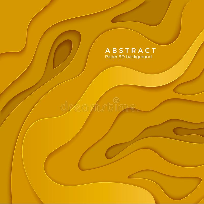 3D abstract background with yellow paper cut shapes. Layer color wavy paper. Design for business poster and presentation. Vector stock illustration