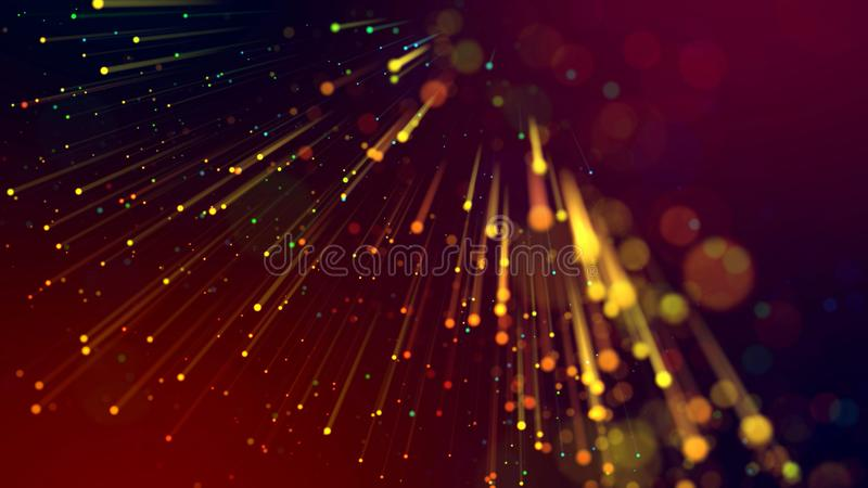 3d abstract beautiful background with colorful glowing particles, depth of field and bokeh effect. Abstract explosion of stock photography