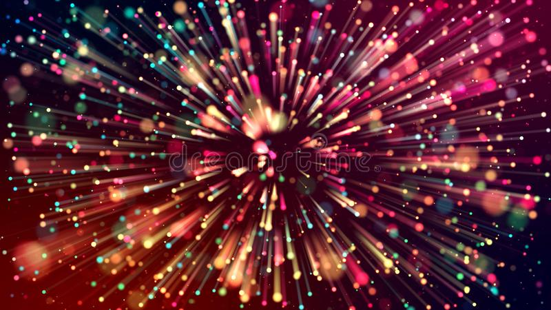 3d abstract beautiful background with colorful glowing particles, depth of field and bokeh effect. Abstract explosion of vector illustration
