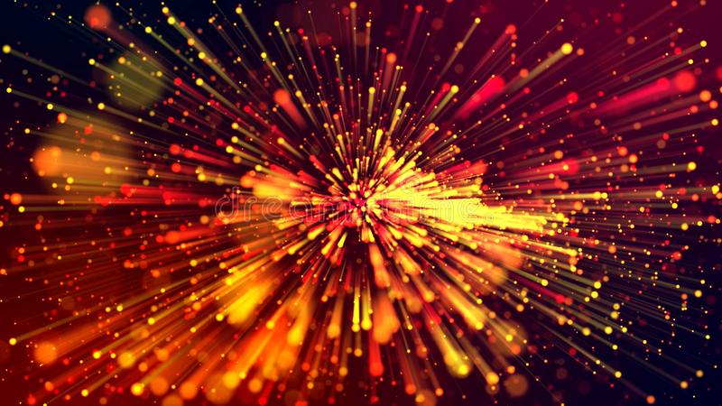3d abstract beautiful background with colorful glowing particles, depth of field and bokeh effect. Abstract explosion of stock image
