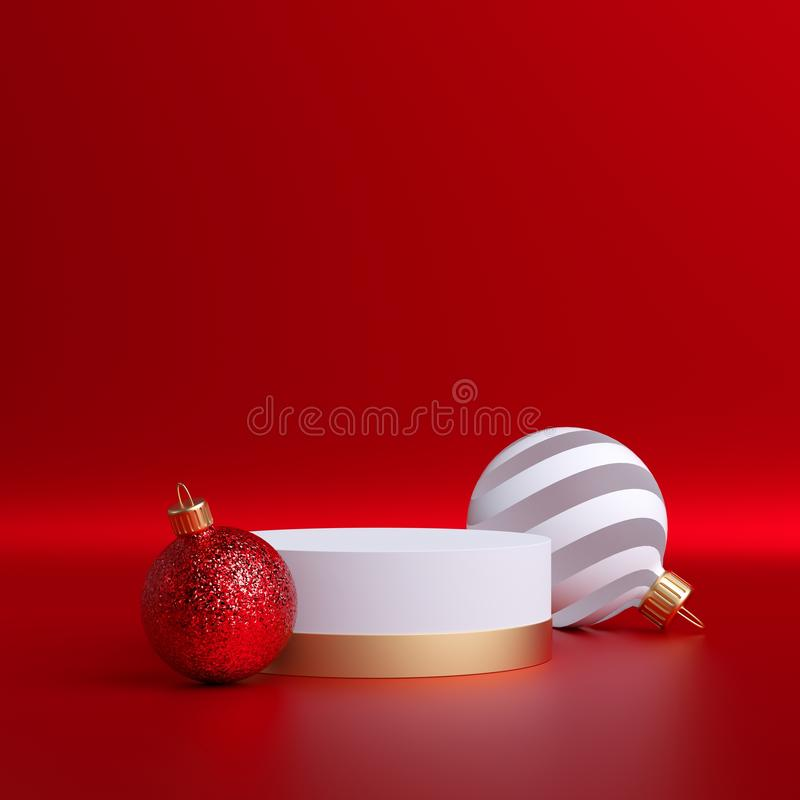 3d abstract Christmas background, glass balls ornaments and empty pedestal isolated on red. Round platform, blank podium mockup stock photo