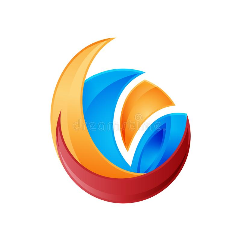 3D abstract circle logo vector illustration template. Colorful circle logo vector, creative abstract 3D style logo stock illustration