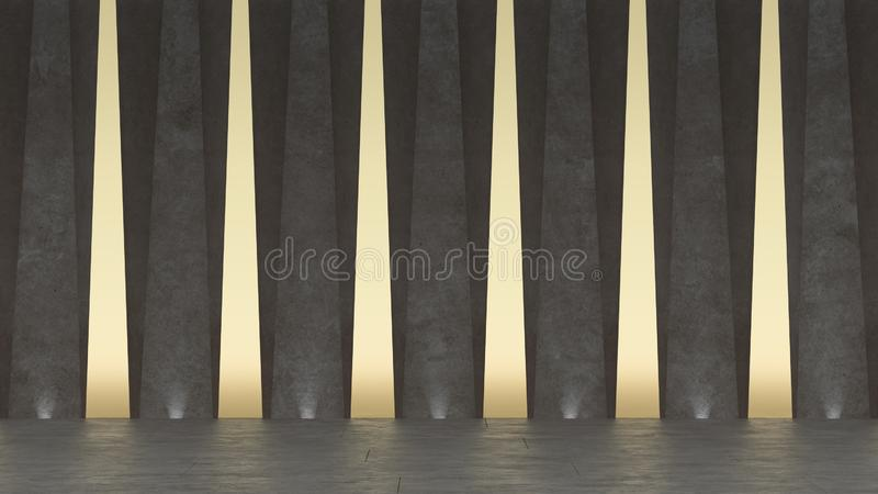 3d Abstract concrete showroom. Modern geometric design. White floor and wall background stock illustration