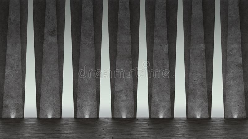 3d Abstract concrete showroom. Modern geometric design. White floor and wall background. Illustration royalty free illustration
