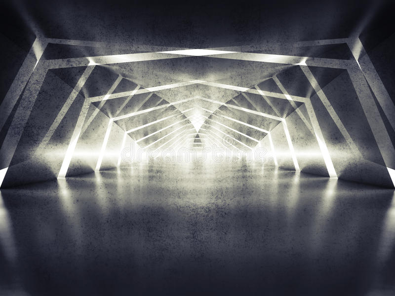 3d abstract dark shining surreal tunnel interior background royalty free illustration