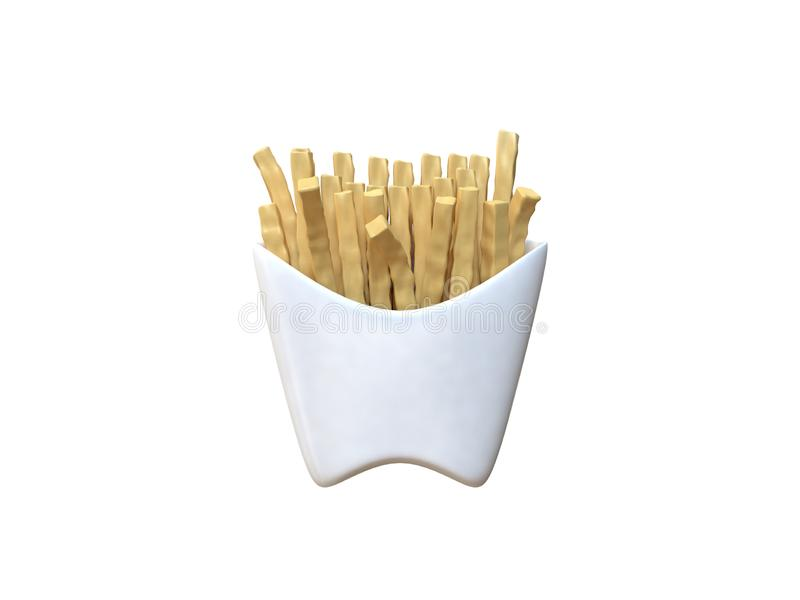 Abstract french fries in white box cartoon style white background 3d rendering royalty free illustration