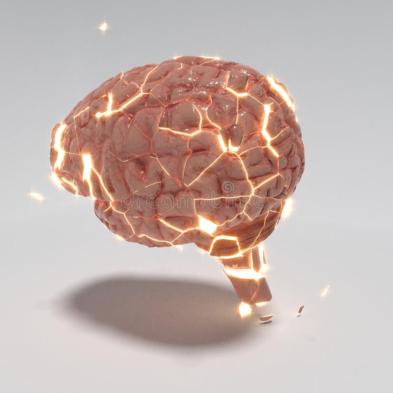 Abstract explotion of a brain, 3d illustration royalty free illustration