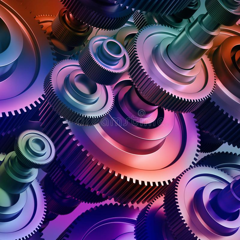 3d abstract machinery background, gearwheels elements. 3d abstract machinery background with colorful metallic gearwheels elements, purple royalty free stock images