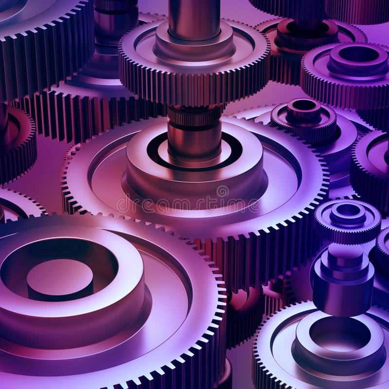 3d abstract machinery background, gearwheels elements. 3d abstract machinery background, purple metallic gearwheels elements, machine details stock images