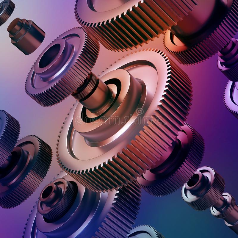 3d abstract machinery background, gearwheels elements. 3d abstract machinery background, purple metallic gearwheels elements, machine details stock photography