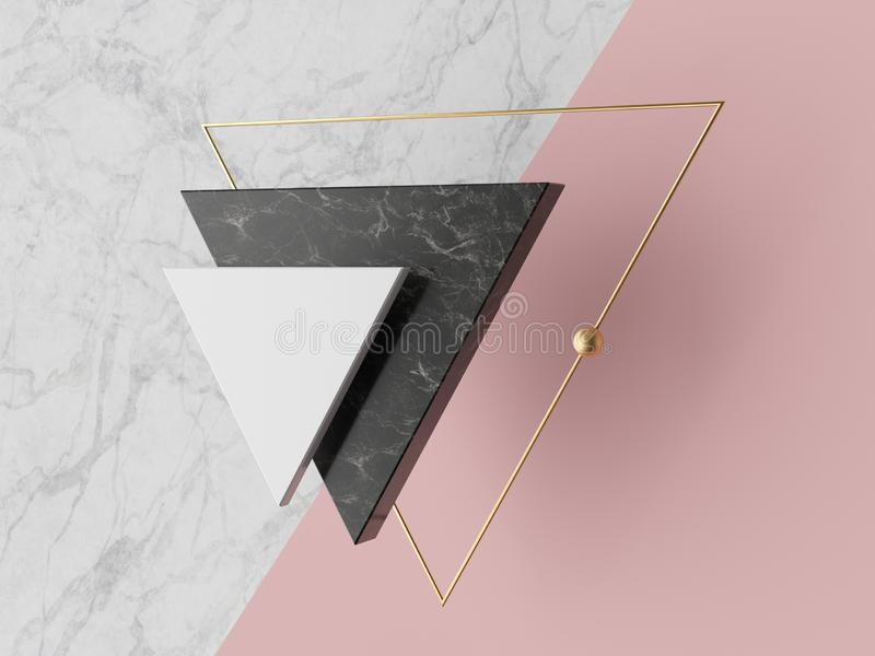 3d abstract geometrical minimal background, white triangular canvas, black white marble texture, golden frame, triangle shapes vector illustration