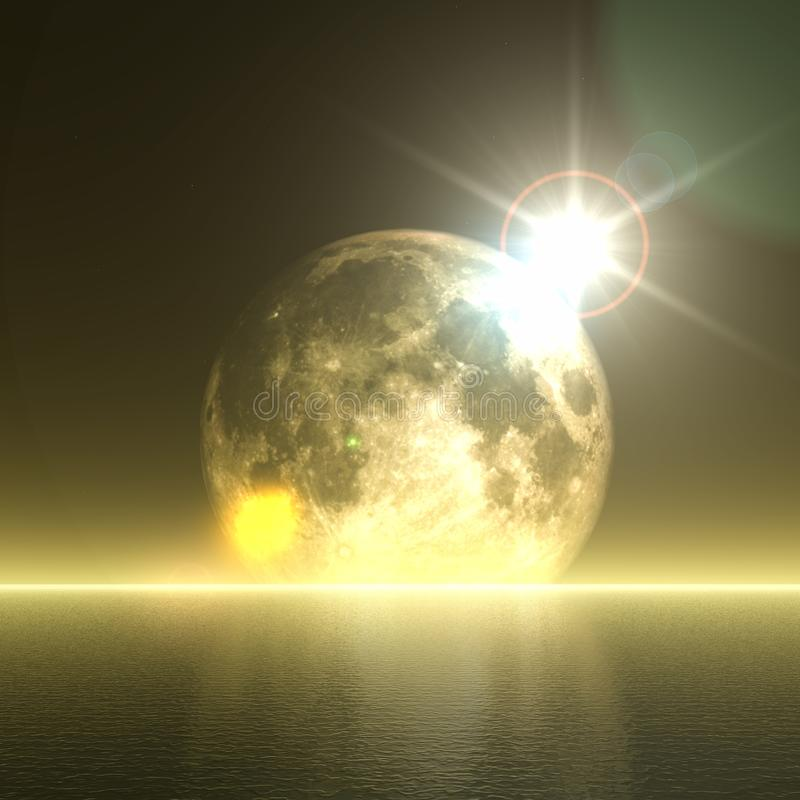 3D abstract moon over ocean landscape stock illustration
