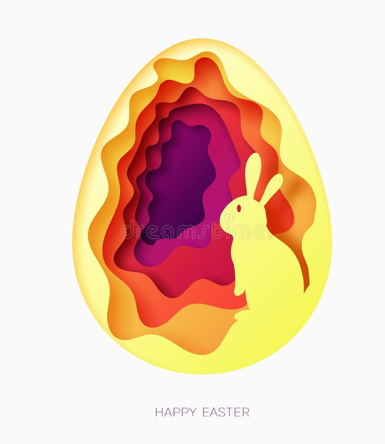 3d abstract paper cut illustration of colorful paper art easter egg with rabbit. Happy easter stock illustration