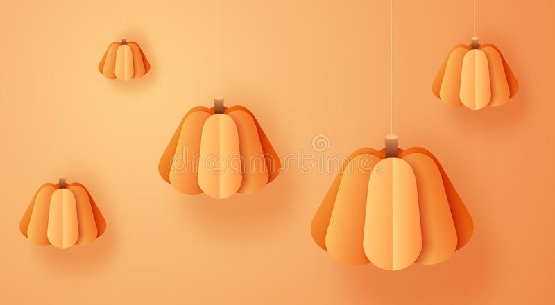 3d abstract paper cut illustration of hanging pumpkins on orange background. Thanksgiving or halloween concept in trendy royalty free stock photo