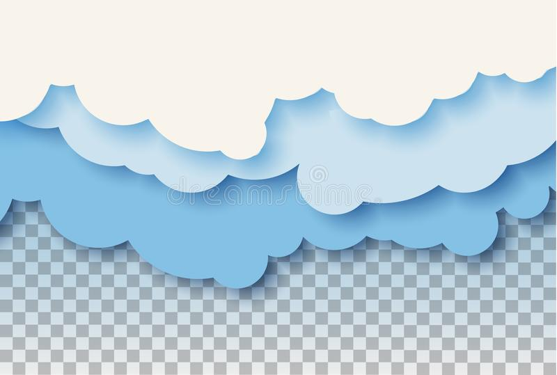 3d abstract paper cut illustration of pastel blue sky and clouds. Vector colorful template. stock illustration