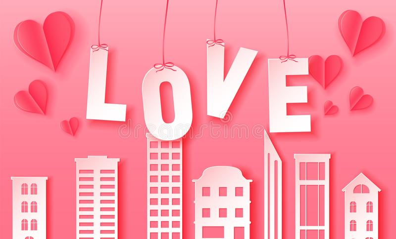 D Abstract Paper Cut Illustration Of Pink Paper Town And Love - 3d letters template