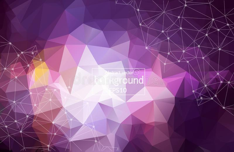 3D Abstract Polygonal Space Purple Background with Bright Low Poly Connecting Dots and Lines - Connection Structure royalty free illustration