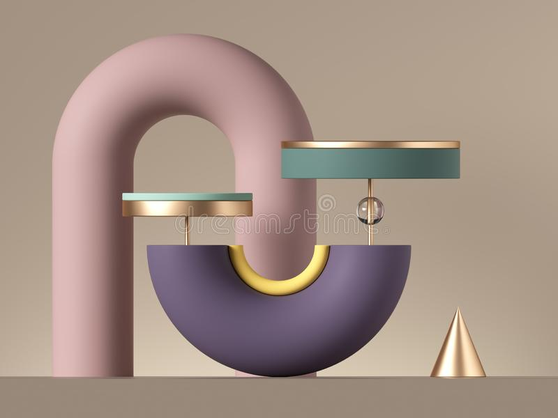 3d abstract postmodern design with assorted geometrical shapes isolated on neutral background. Primitives, blank pedestal stand royalty free illustration
