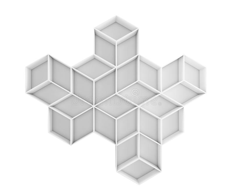 3d abstract rhombus composition isolated on white background stock illustration