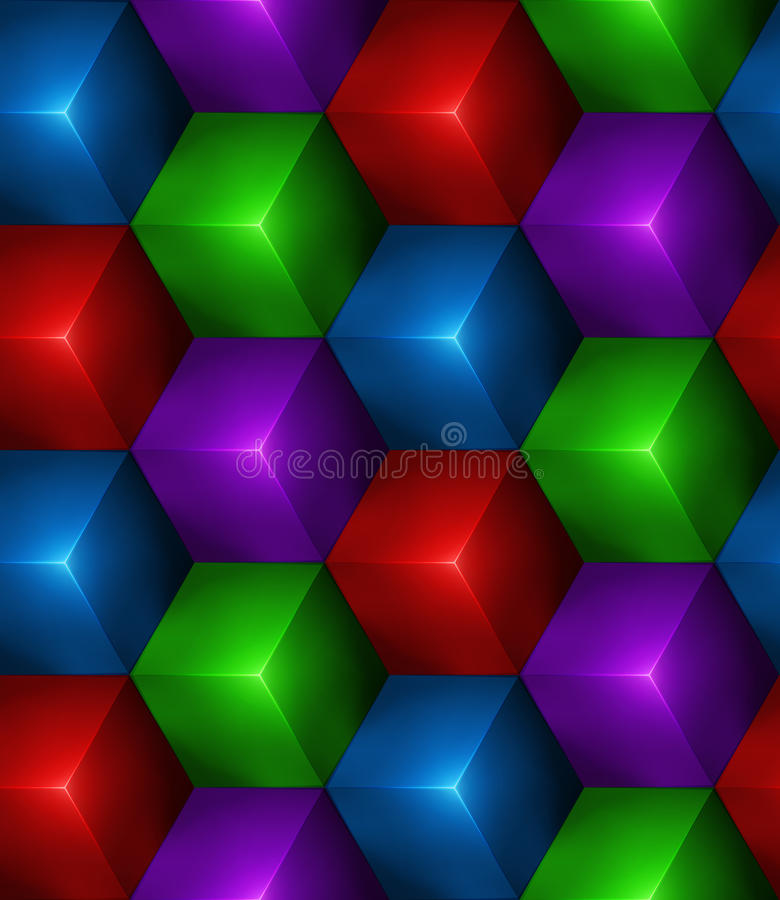 3d Abstract seamless background with colored cubes stock illustration