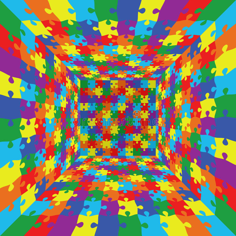 3d abstract vector rainbow color puzzle jigsaw room background royalty free illustration