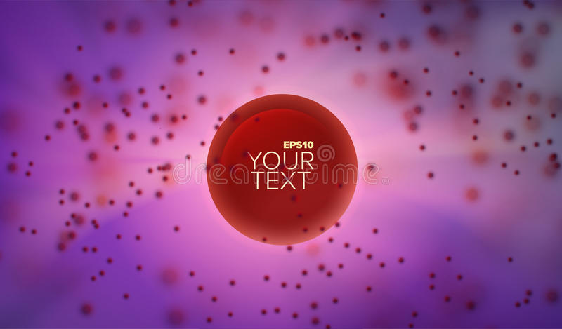 3d abstract vector sphere in depth and cloud of blurred particles. Background for banner or title stock illustration