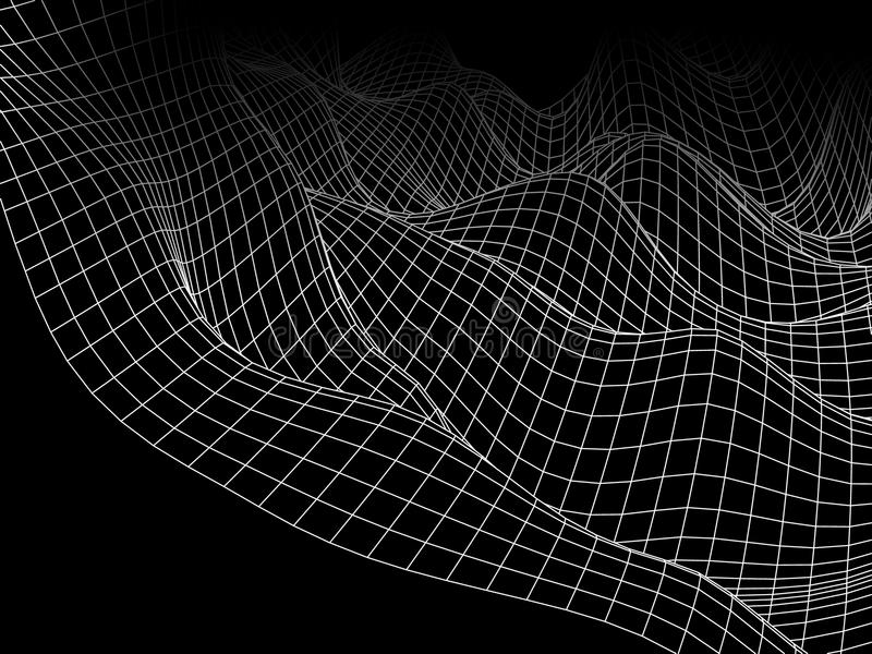 3D abstract wave digital mesh. Futuristic vector concept. Techn stock images