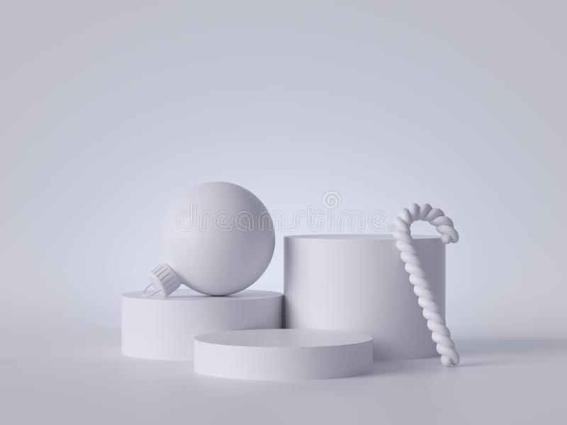 3d abstract white Christmas background with ball and empty podium decorated with candy cane. Round platform, blank pedestal steps. Copy space. Product showcase royalty free stock photography