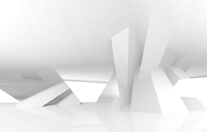 3d abstract white digital architecture background vector illustration