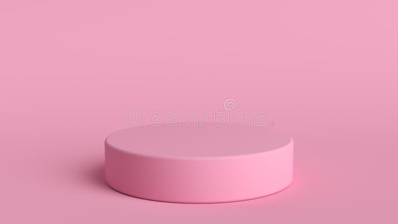 3d abstracte achtergrond geeft terug Roze platform voor productvertoning Binnenlandse podiumplaats Leeg decoratiemalplaatje voor stock illustratie
