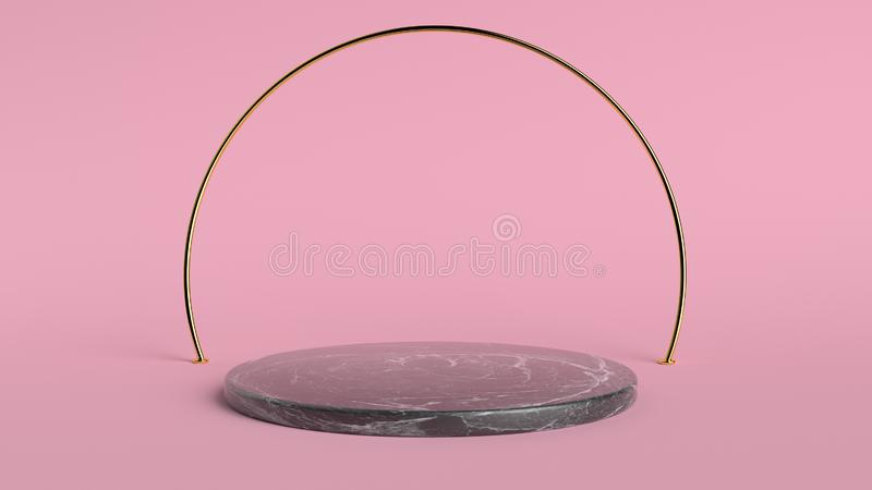 3d abstracte achtergrond geeft terug Roze platform voor productvertoning Binnenlandse podiumplaats Leeg decoratiemalplaatje voor royalty-vrije stock foto's