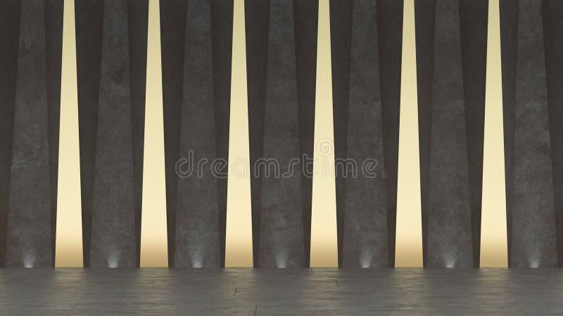 3d Abstracte concrete toonzaal Modern geometrisch ontwerp Witte vloer en muurachtergrond stock illustratie