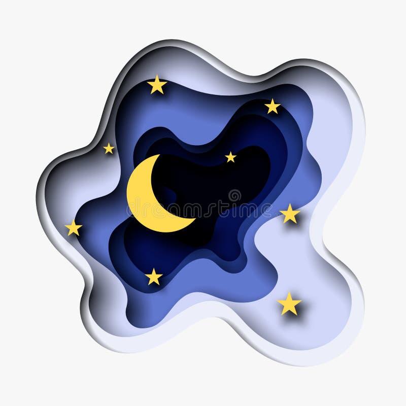 3d abstracte document besnoeiingsillustratie van maan en sterren in de nacht Vector kleurrijk malplaatje in het snijden kunststij stock illustratie