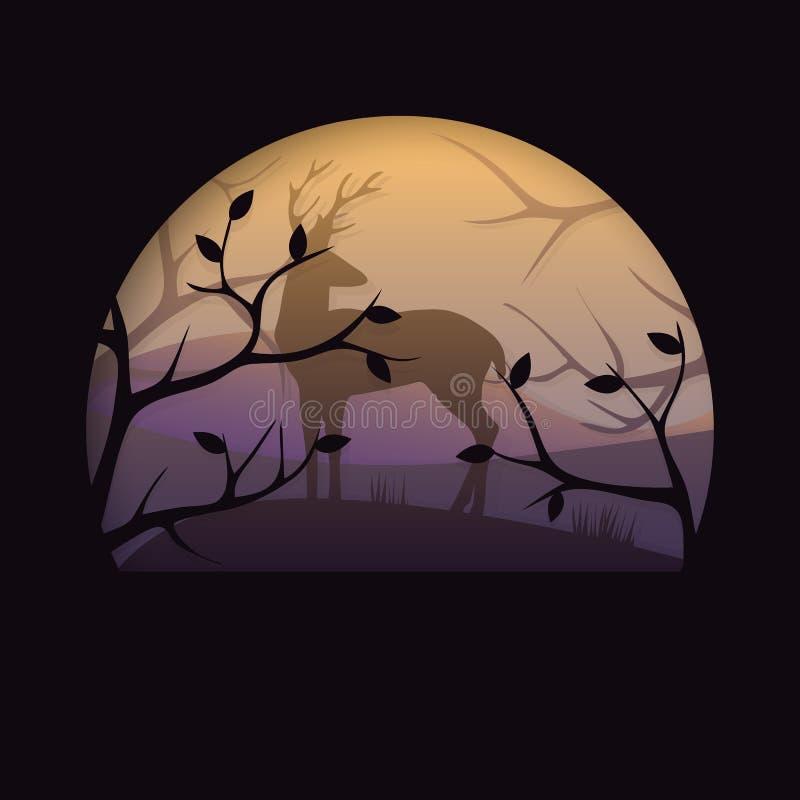3d abstracte document sneed illlustration van herten in het donkere malplaatje van de de herfst bos Vector kleurrijke prentbriefk vector illustratie