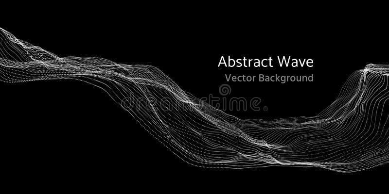 3d abstracte golf van het netwerknetwerk en deeltjes vectorachtergrond royalty-vrije illustratie