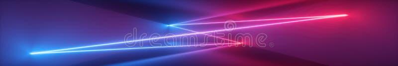 3d abstracte panoramische virtuele achtergrond, neonlicht, tunnel, gang, gloeiende lijnen, geometrische vormen, ultraviolet spect royalty-vrije illustratie