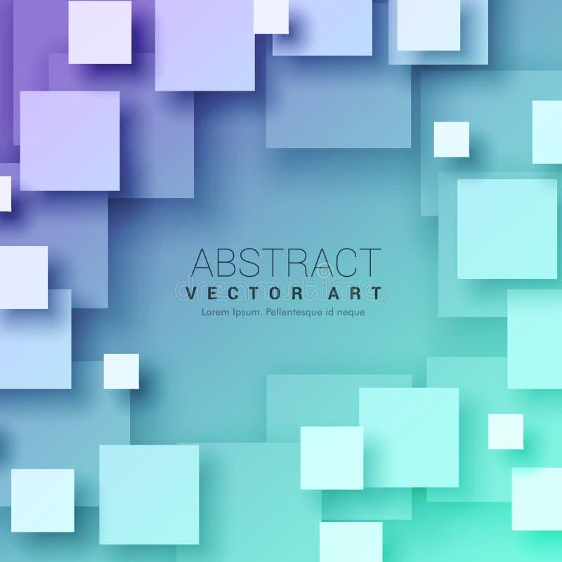 3d abstracte vierkantenachtergrond in blauwe kleur stock foto's