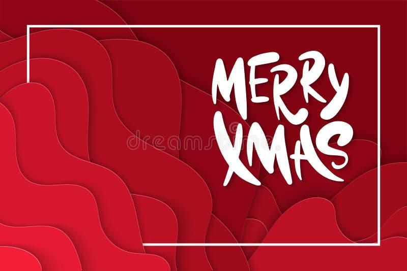 3D abstracte Vrolijke Kerstmis, Kerstmis het van letters voorzien, ontwerplay-out voor groetkaarten, affiches, drukken, decoratie vector illustratie